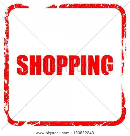 shopping, red rubber stamp with grunge edges