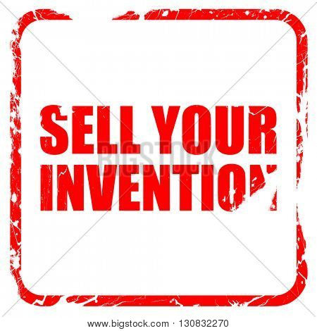 sell your invention, red rubber stamp with grunge edges