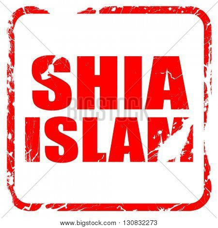 shia islam, red rubber stamp with grunge edges