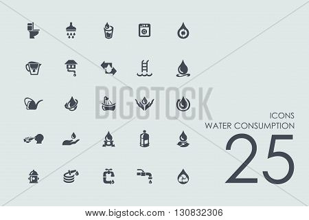 water consumption vector set of modern simple icons