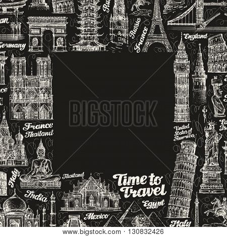 journey or travel. famous buildings of the world. vector illustration