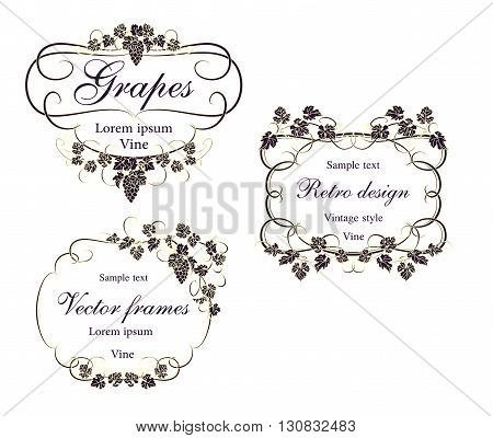 Background for text with vines and bunches of grapes.