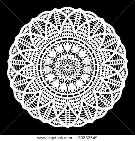 Lace round paper doily lacy snowflake greeting element package doily - a template for cutting vector illustrations