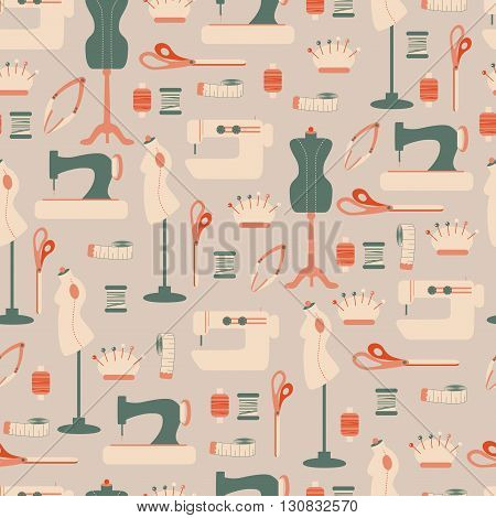 Seamless Pattern with Sewing Tool/ Vector Seamless Background with Sewing Accessories