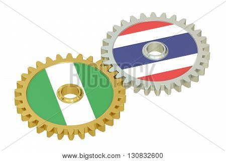 Nigeria and Thailand flags on a gears 3D rendering isolated on white background
