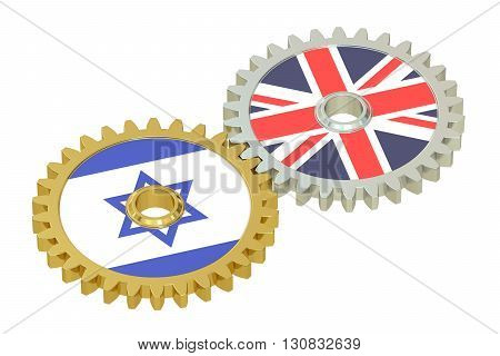 United Kingdom and Israel relations concept flags on a gears. 3D rendering isolated on white background