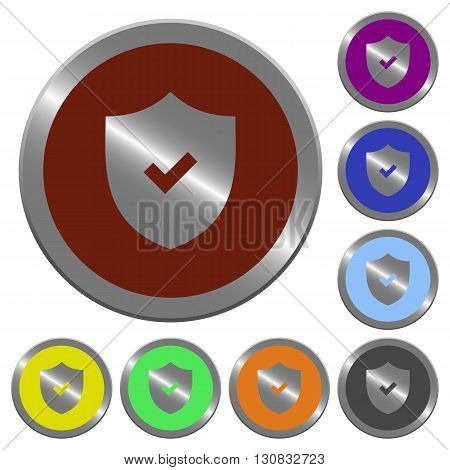 Set of color glossy coin-like active security buttons.