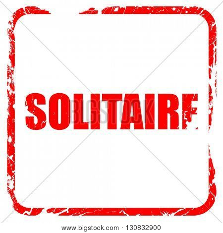 Solitaire, red rubber stamp with grunge edges