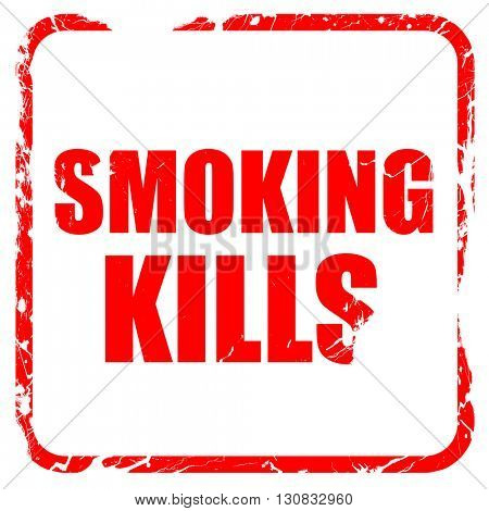 smoking kills, red rubber stamp with grunge edges