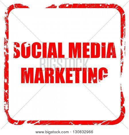 social meda marketing, red rubber stamp with grunge edges