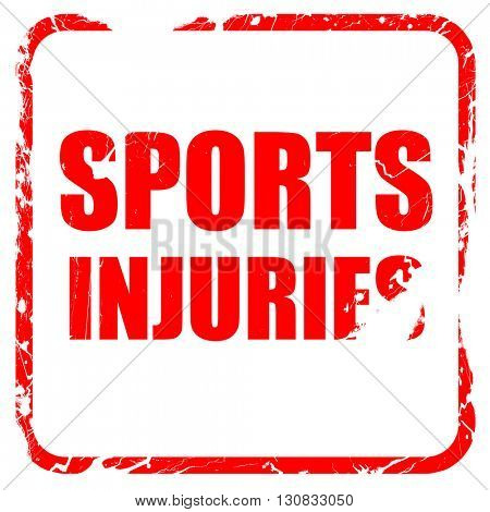 sports injuries, red rubber stamp with grunge edges