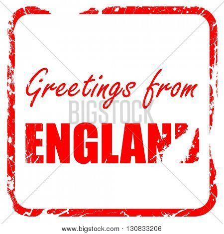 Greetings from england, red rubber stamp with grunge edges