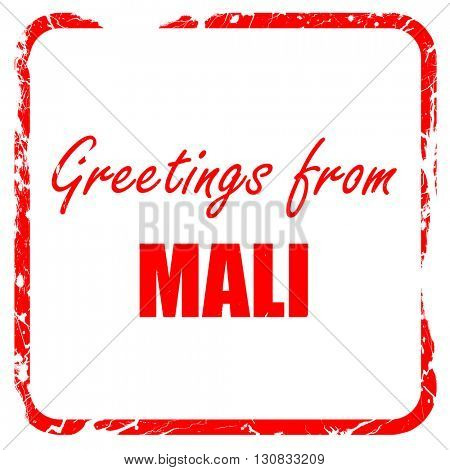 Greetings from mali, red rubber stamp with grunge edges