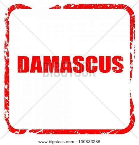 damascus, red rubber stamp with grunge edges