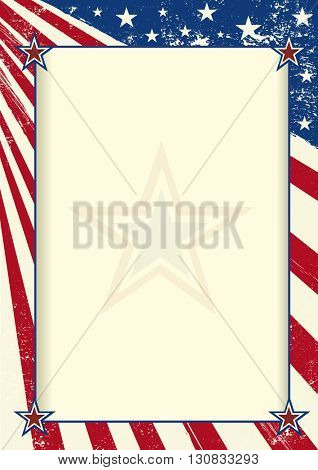 American frame poster. An american flag with a large frame for your message
