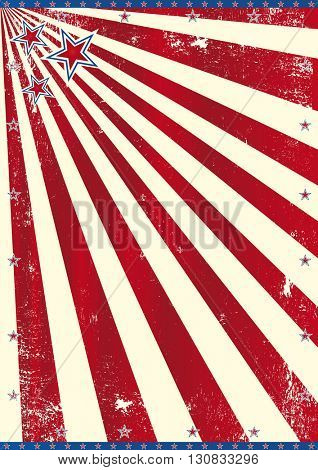 American theme. A background with red sunbeams and an used texture effect (American theme)