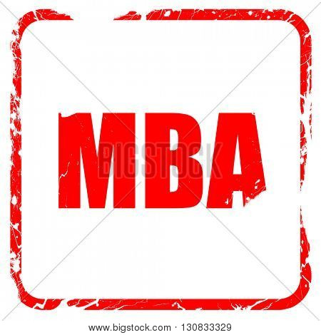 mba, red rubber stamp with grunge edges