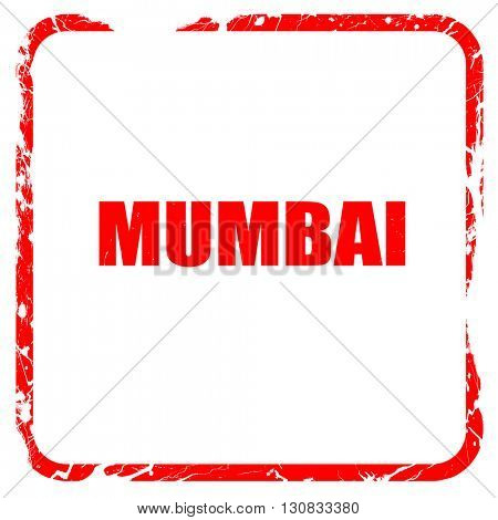 mumbai, red rubber stamp with grunge edges