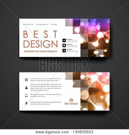 Set of modern design banner template in neon molecule structure style. Beautiful design and layout