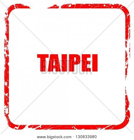 taipei, red rubber stamp with grunge edges