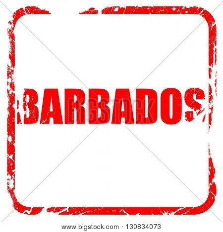 barbados, red rubber stamp with grunge edges