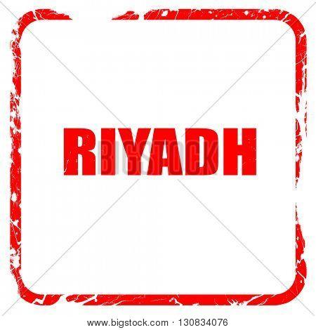 riyadh, red rubber stamp with grunge edges