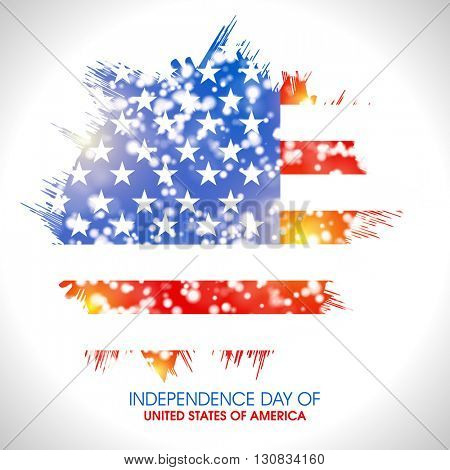 Creative glossy American Flag colors background for 4th of July, Independence Day celebration.