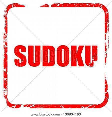 Sudoku, red rubber stamp with grunge edges
