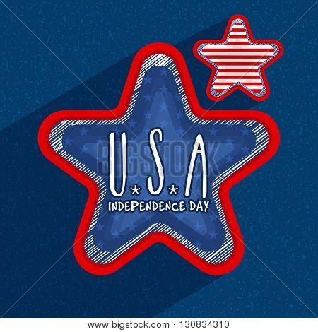 Creative 3D Stars with stylish text U.S.A on blue background for 4th of July, American Independence Day celebration.