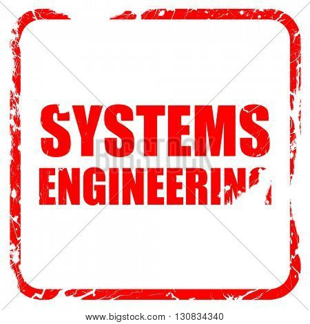 systems engineering, red rubber stamp with grunge edges