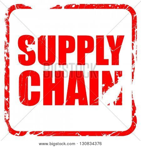 supply chain, red rubber stamp with grunge edges