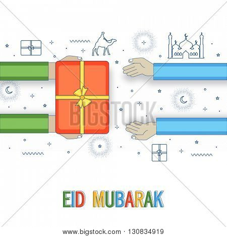 Muslim Community Festival, Eid Mubarak Celebration with Islamic Elements and human hands giving gift to each others.