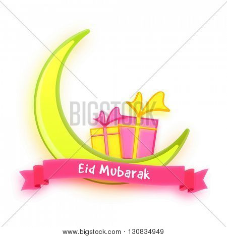 Glossy Crescent Moon with pink Eid Mubarak ribbon and gifts on white background for Muslim Community Festival Celebration.