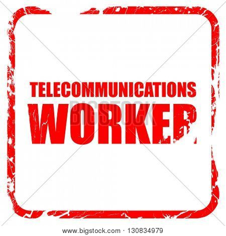 telecommunications, red rubber stamp with grunge edges
