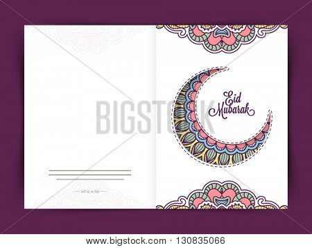 Beautiful Greeting Card with creative Crescent Moon for Muslim Community Festival, Eid Mubarak Celebration.