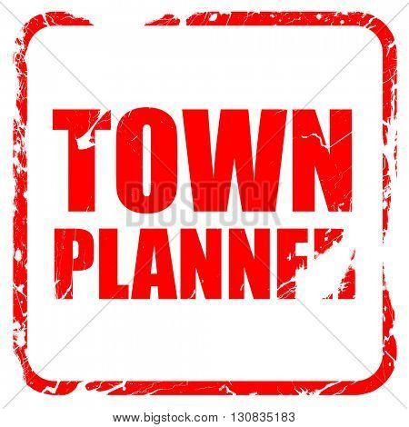 townplanner, red rubber stamp with grunge edges