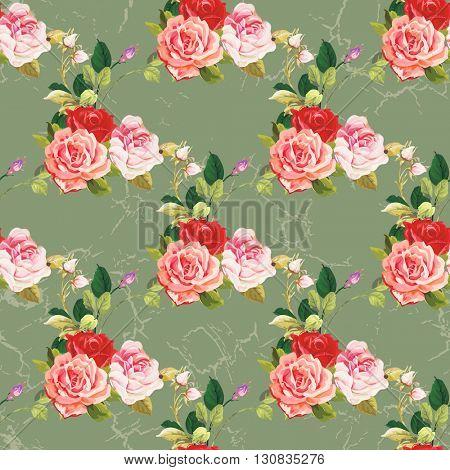 Seamless floral pattern three rose Vector Illustration EPS8