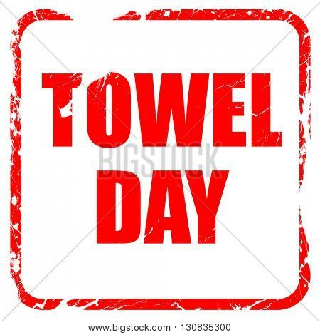 towel day, red rubber stamp with grunge edges