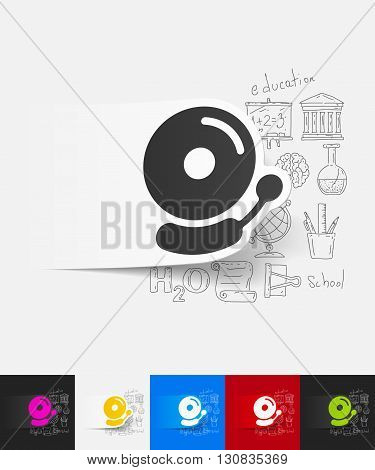 hand drawn simple elements with bell paper sticker shadow