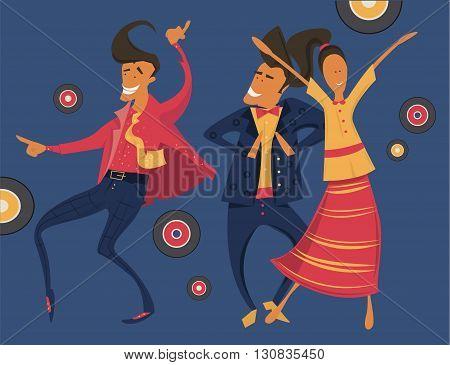 Hipsters retro party, geometric illustration, minimalistic, dancing, having fun