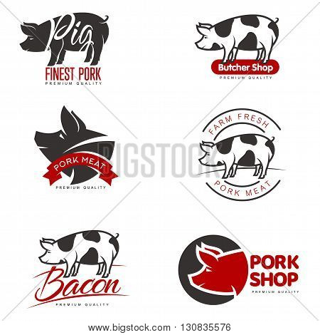 set of logos with a pig, vector simple illustration isolated on white background set of different pork logo, black and red logos about the pork store