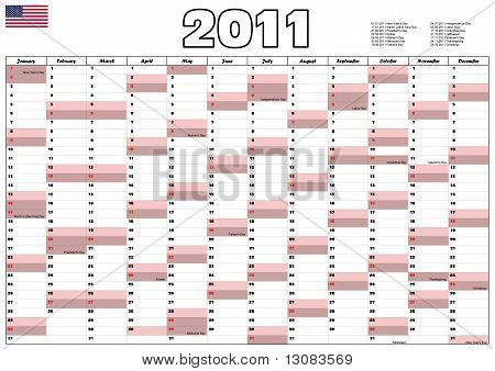 2011 Calendar With Usa Official Holidays