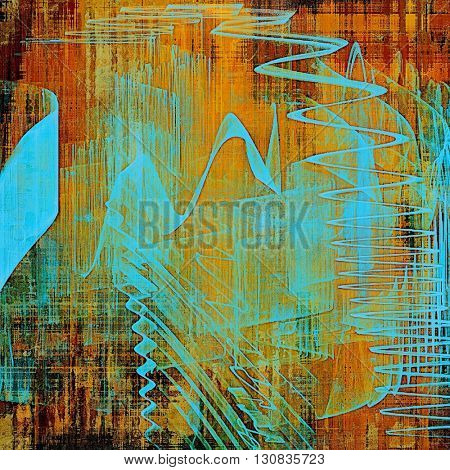 Old style decorative composition or designed vintage template with textured grunge elements and different color patterns: yellow (beige); brown; blue; red (orange)