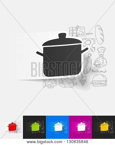 hand drawn simple elements with saucepan paper sticker shadow