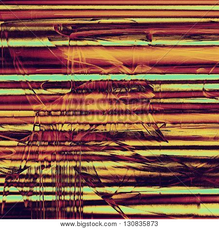 Grunge design composition over ancient vintage texture. Creative background with different color patterns: yellow (beige); brown; red (orange); purple (violet); pink; cyan