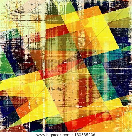 Geometric grunge design composition over ancient vintage texture. Creative background with different color patterns: yellow (beige); brown; green; blue; red (orange); black
