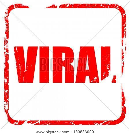 viral, red rubber stamp with grunge edges