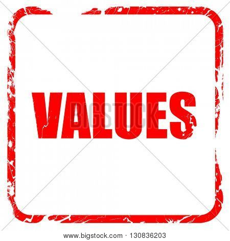 values, red rubber stamp with grunge edges