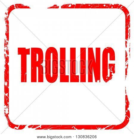 Trolling internet background, red rubber stamp with grunge edges