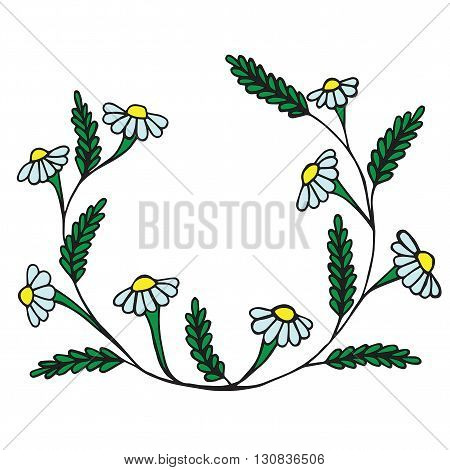 Black line vector illustration floral frame with leaves and camomile and place for text.